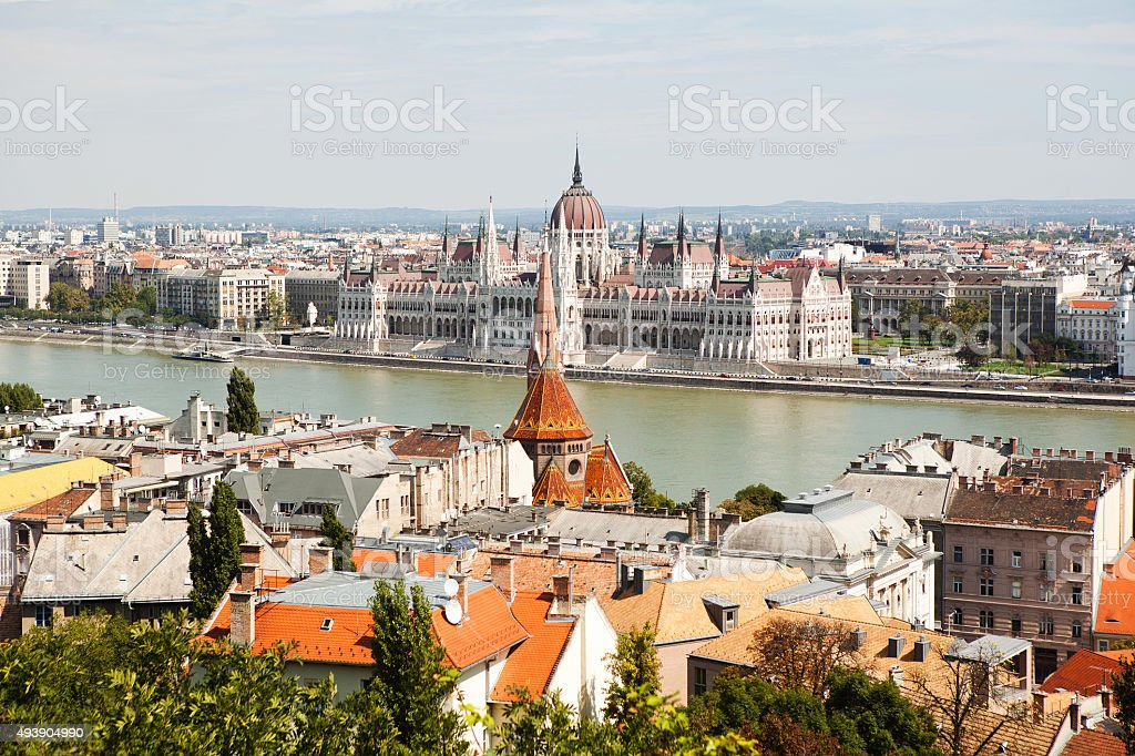 The view of the Budapest from the top. stock photo