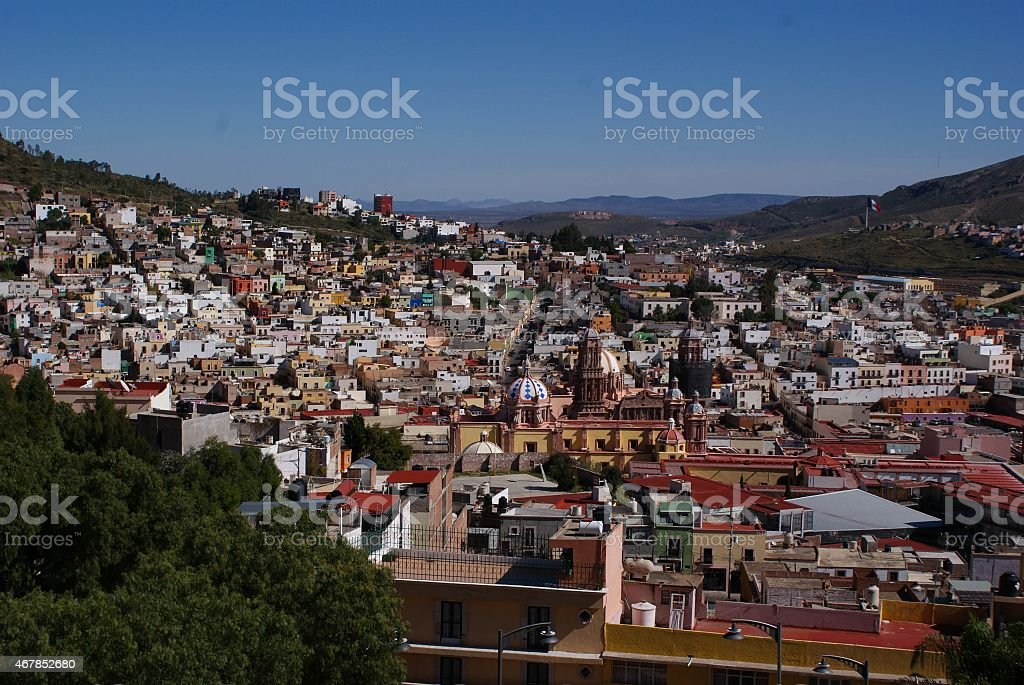 The view of the colonial city of Zacatecas in Mexico stock photo