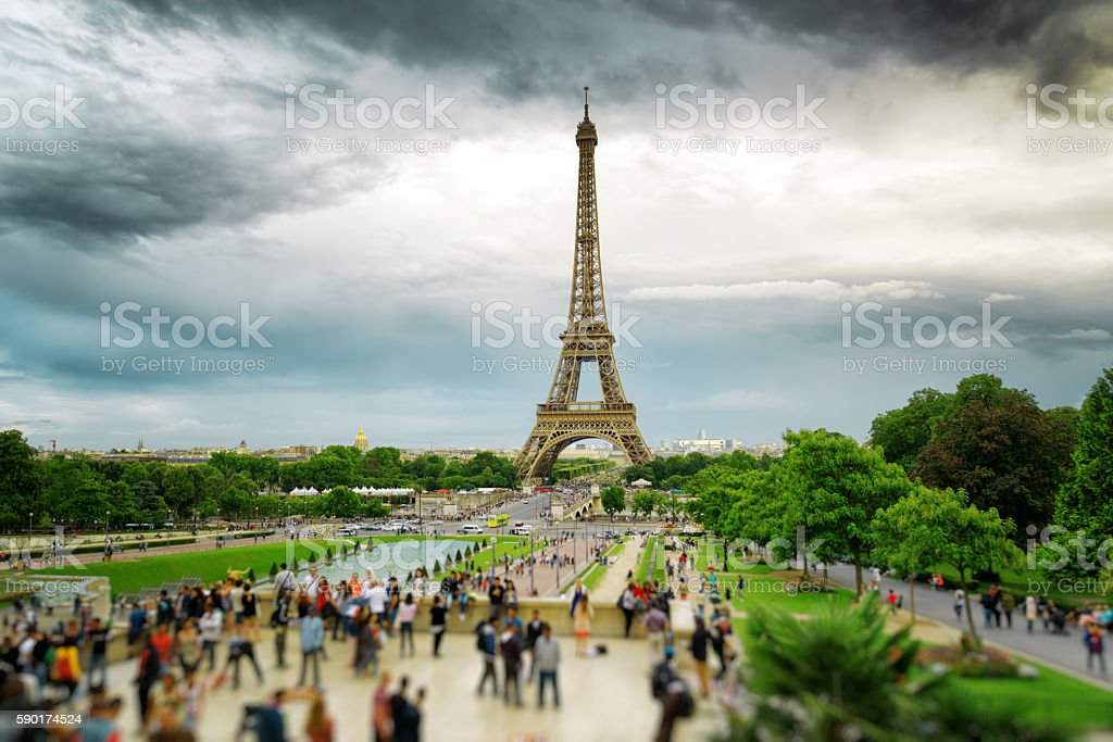 The view of the Eiffel Tower, Paris, France. stock photo