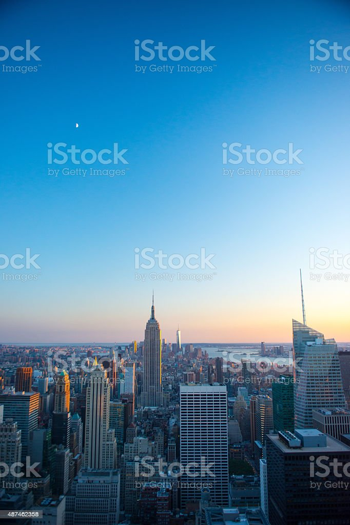 The view of the Empire State Building from Rockafeller Center stock photo
