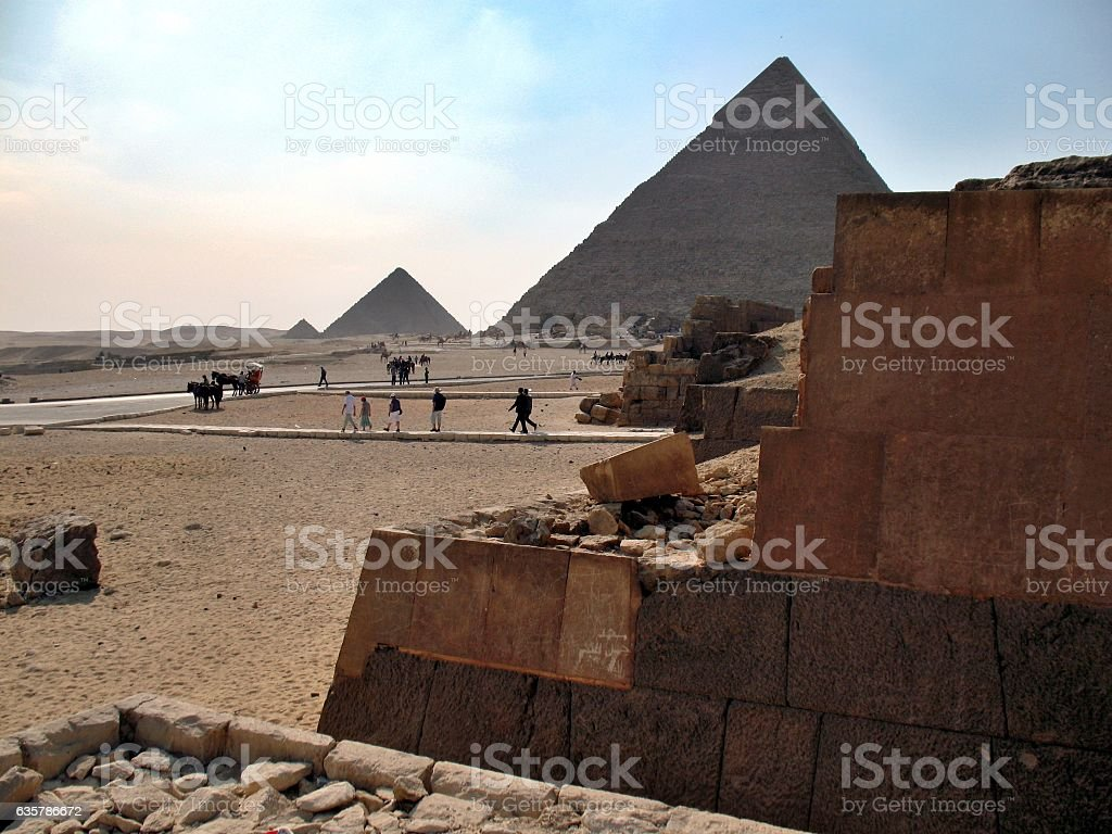 The view of the pyramids, Giza, Cairo stock photo