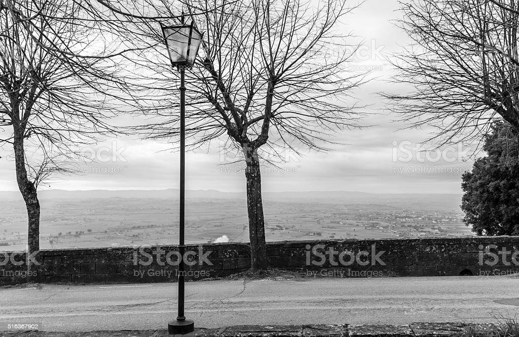 The view of the Tuscany city of Cortona stock photo