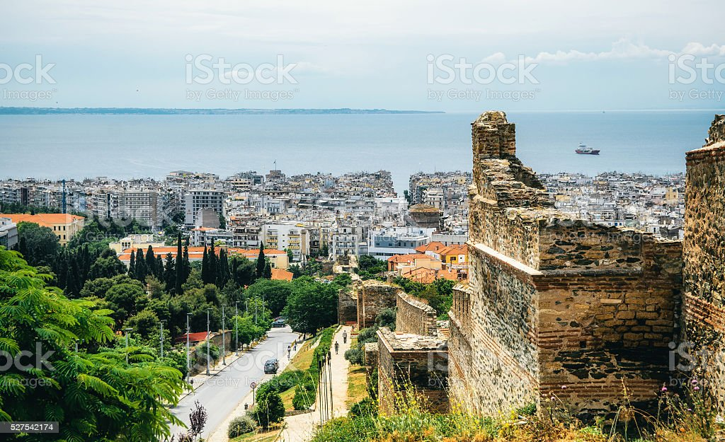 The view of Thessaloniki from the ramparts stock photo