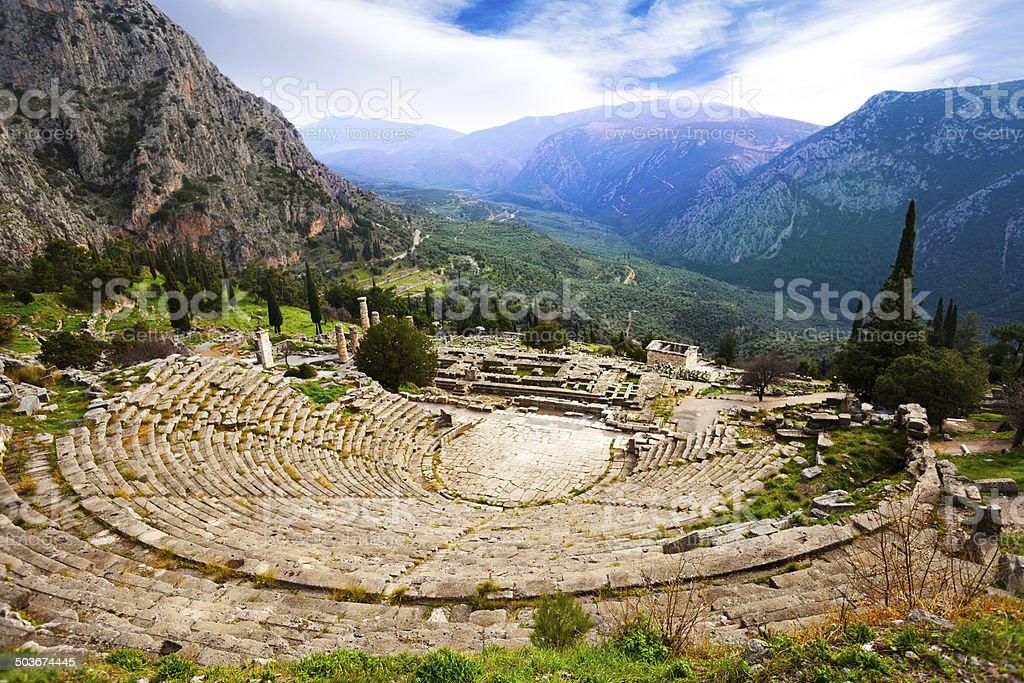 The view on amphitheater, Delphi stock photo