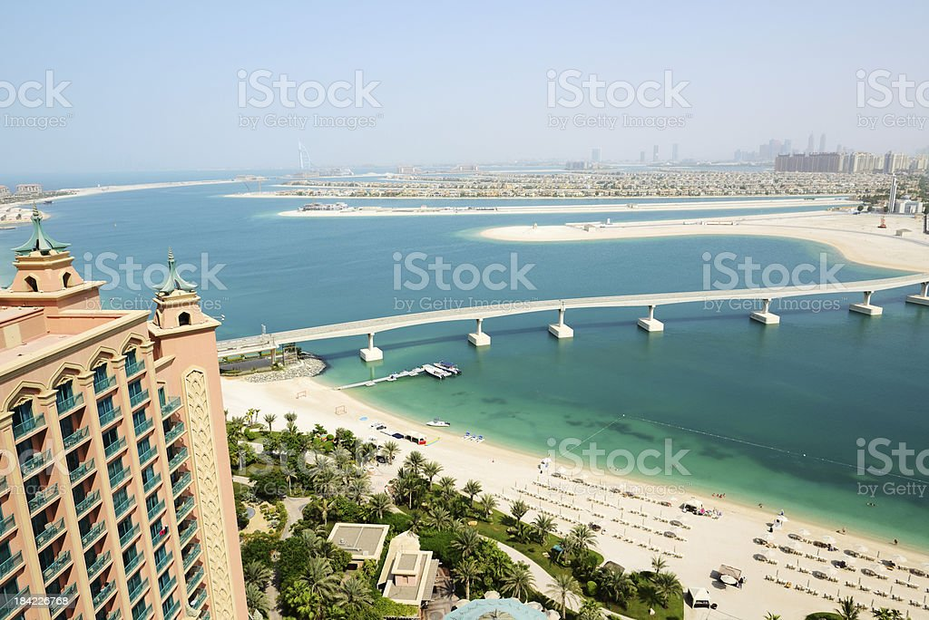 The view on Jumeirah Palm man-made island, Dubai, UAE royalty-free stock photo