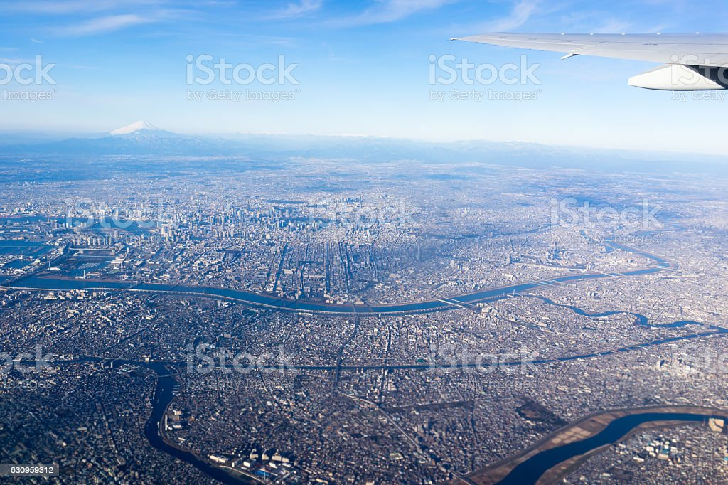 The view on Kanto Plain seen from an airplane. stock photo
