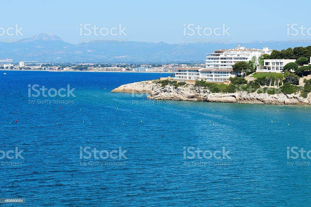 The view on luxury hotel and bay, Costa Dorada, Spain stock photo