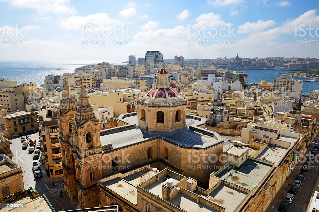 The view on Sliema and Valleta, Malta stock photo