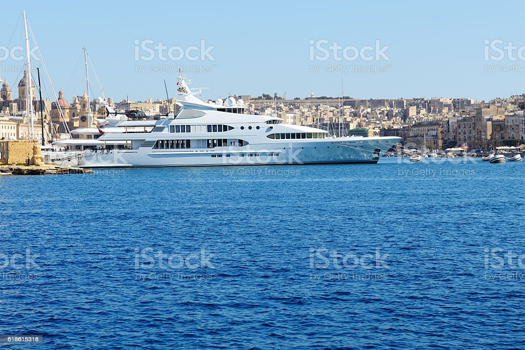 The view on Vittoriosa and motor yachts, Malta stock photo