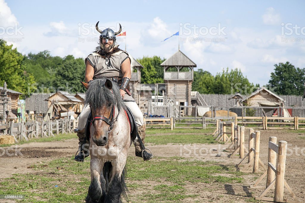 The Viking is take care of his territory stock photo