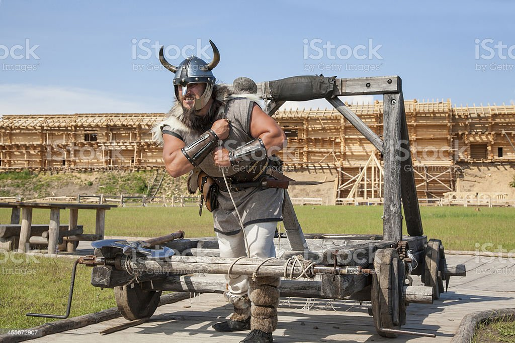 The Viking works hard on his territory stock photo