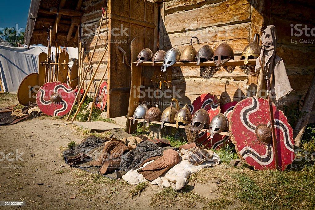 The Vikings encampment stock photo