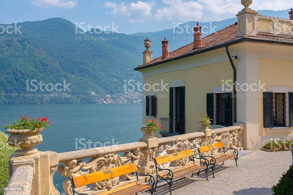 The Villa del Balbianello, lake como, Italy stock photo