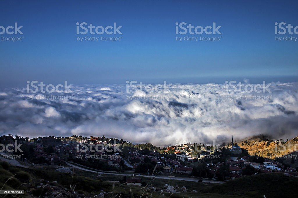 The village above the clouds royalty-free stock photo