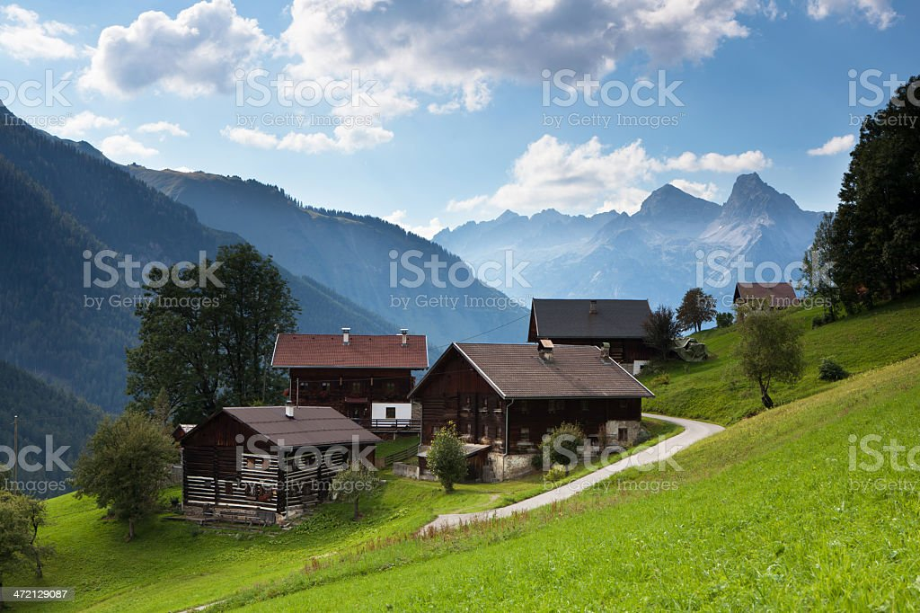 the village bschlabs in lech valley - tirol- austria royalty-free stock photo