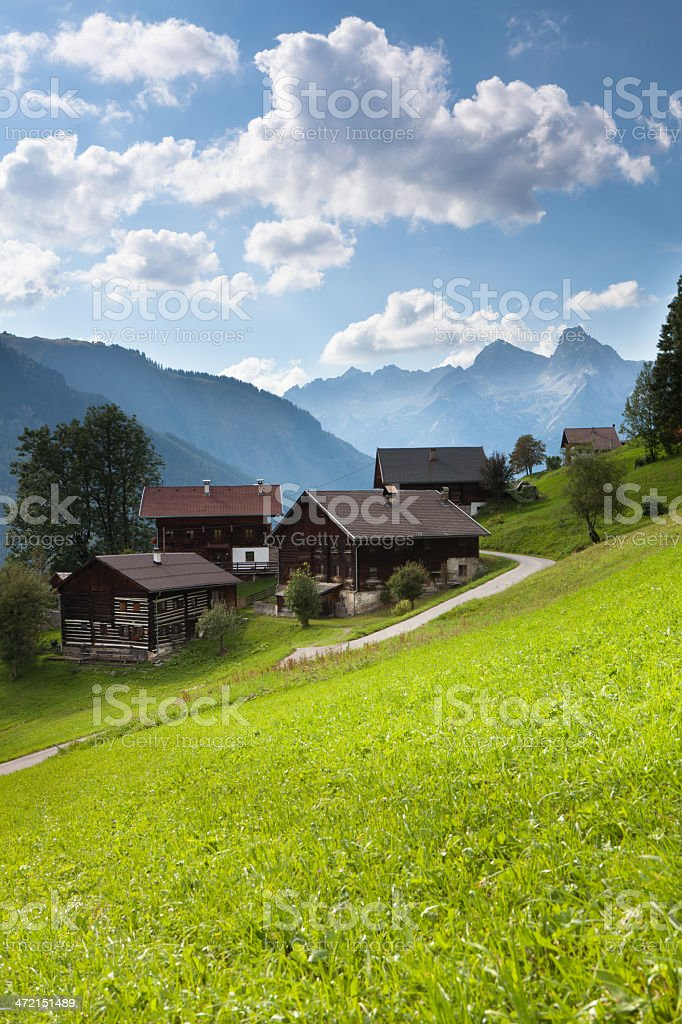 the village bschlabs in lech valley - tirol- austria stock photo