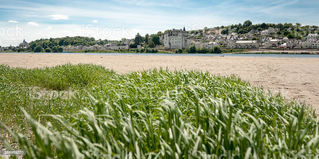 The village Candens Saint Martin and the Loire in France. stock photo