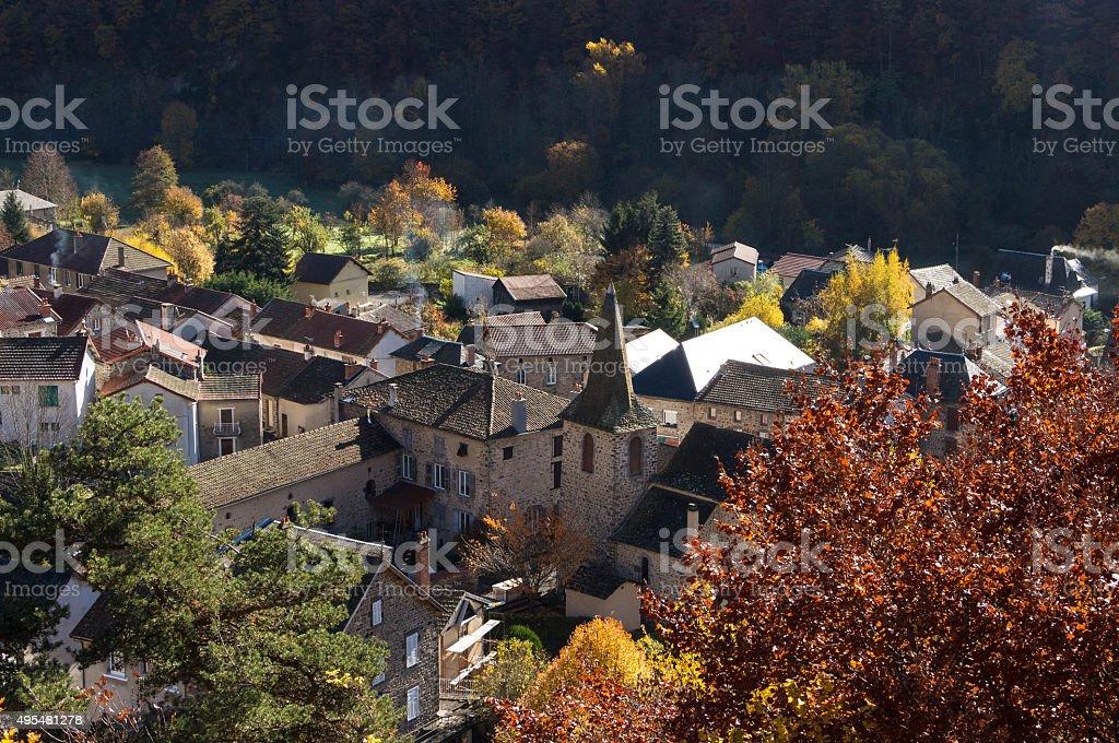 The village Ferriere Sainte Mary in autumn, Auvergne region, France. stock photo