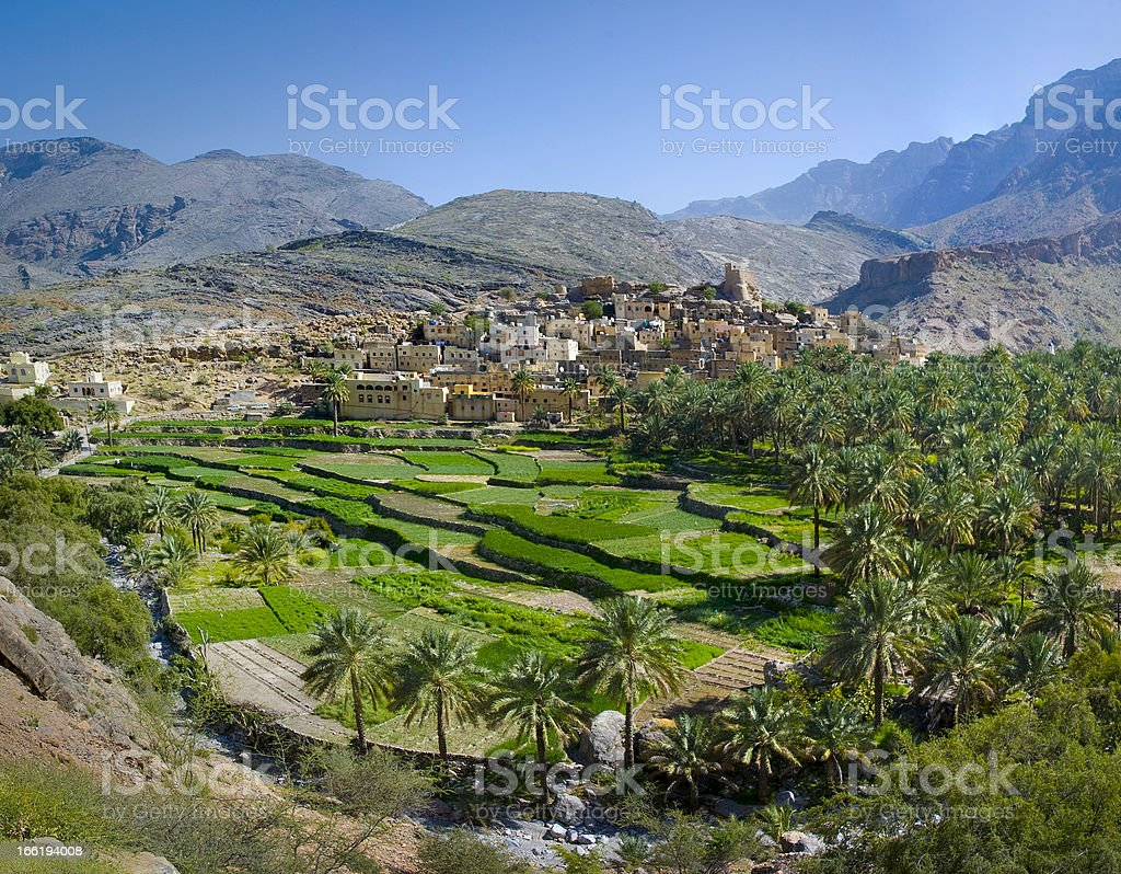 The village in sultanate Oman stock photo