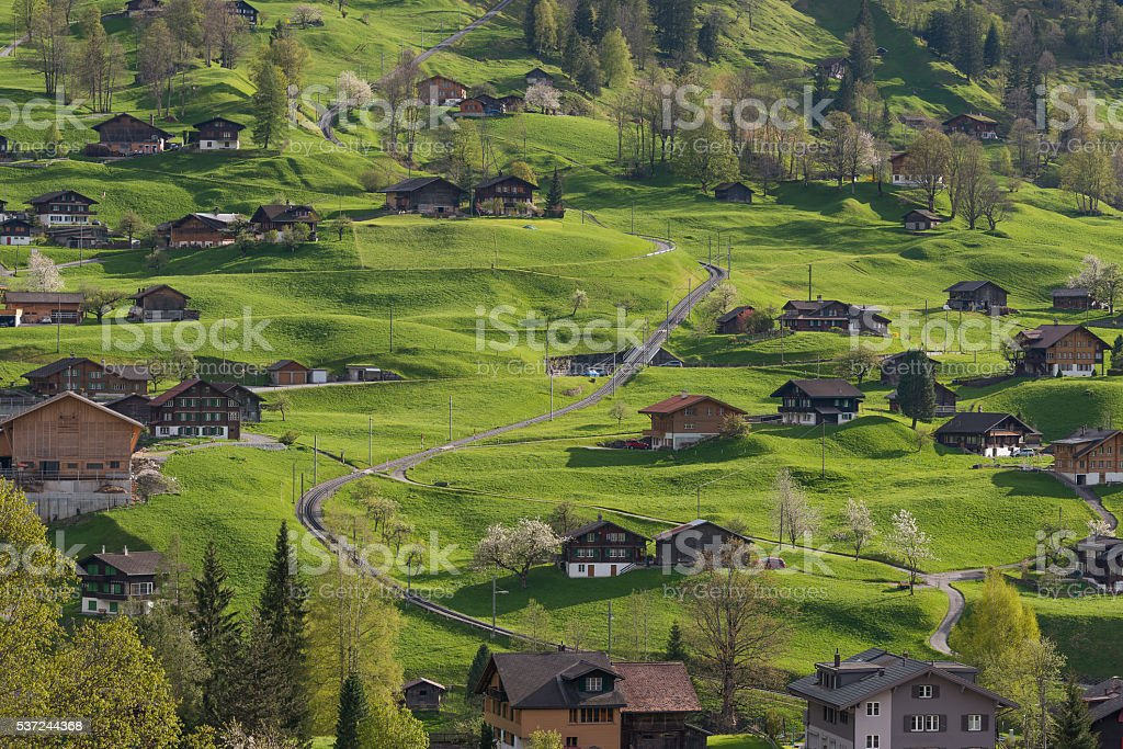 The village in the valley of Grindelwald, Switzerland stock photo