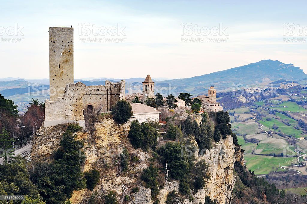The village Montefalcone Appennino in Marche,Italy stock photo