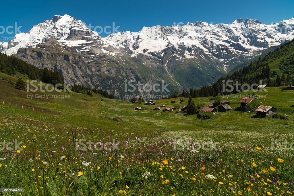 The Village Murren, Switzerland stock photo