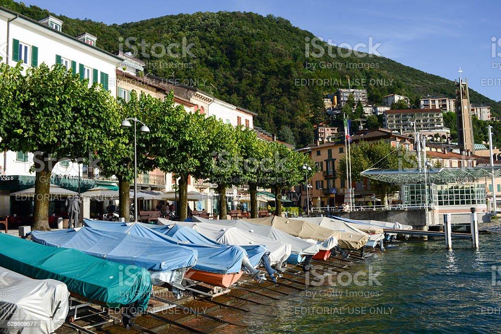 The village of Campione d'Italia on lake lugano stock photo