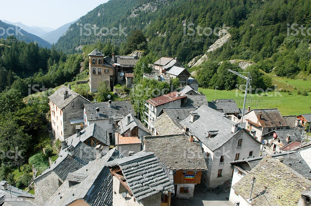 The village of Fusio on Maggia valley stock photo