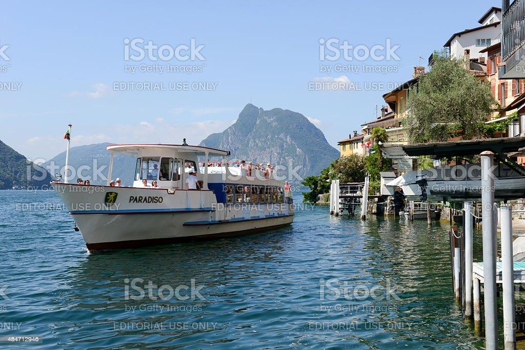 The village of Gandria on lake Lugano stock photo