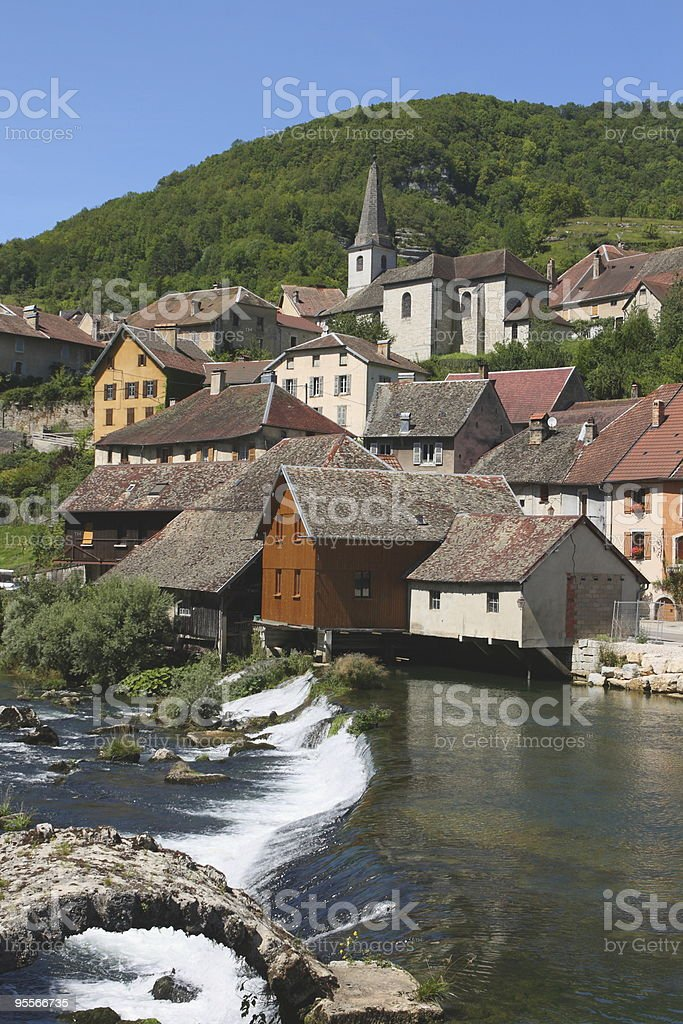The village of Lods in France stock photo