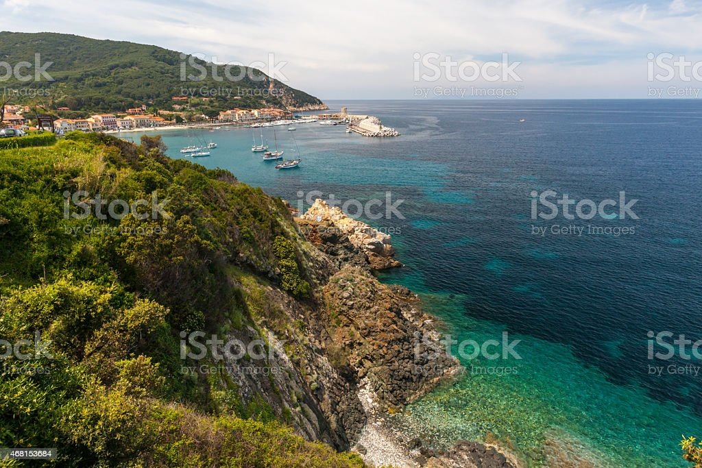 The village of Marciana Marina. Elba island stock photo