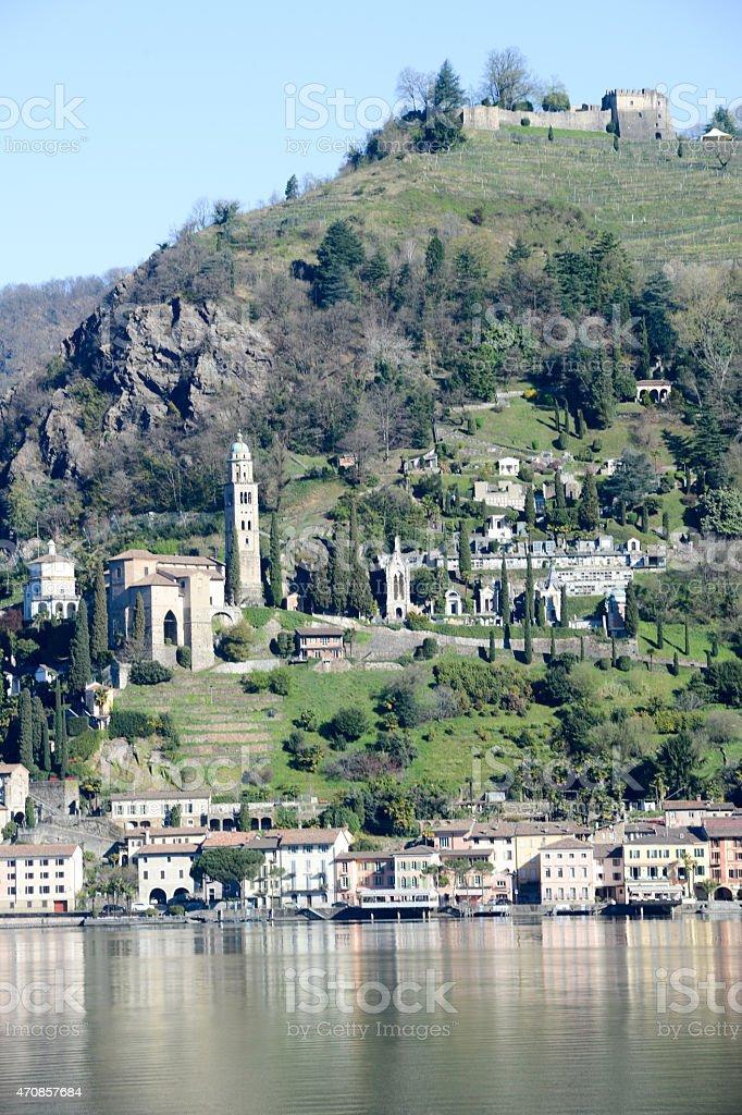 The village of Morcote on lake Lugano stock photo