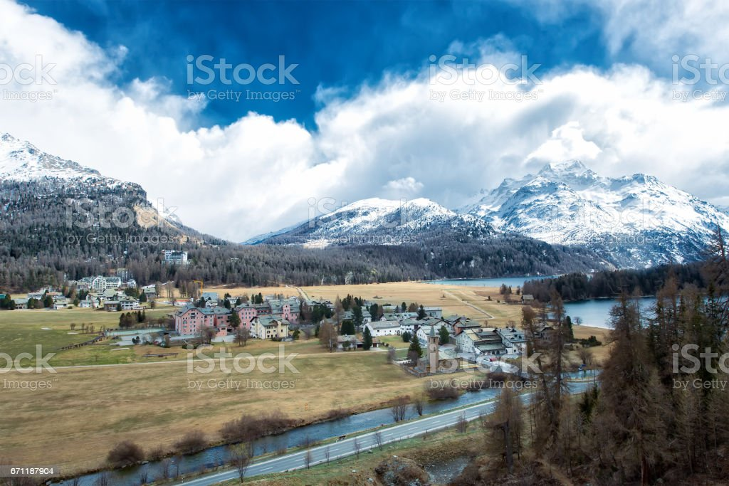 The village of Sils Maria in the Engadine valley near Sankt Moritz in Switzerland stock photo