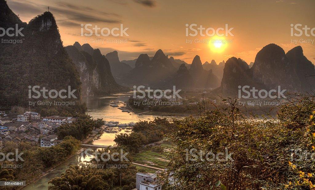 the village of xingping at  li river guangxi province stock photo