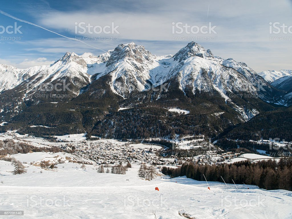 The village Scuol in Swiss Alps stock photo