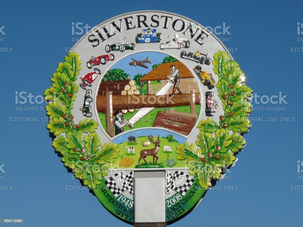The Village Sign (Silverstone) stock photo
