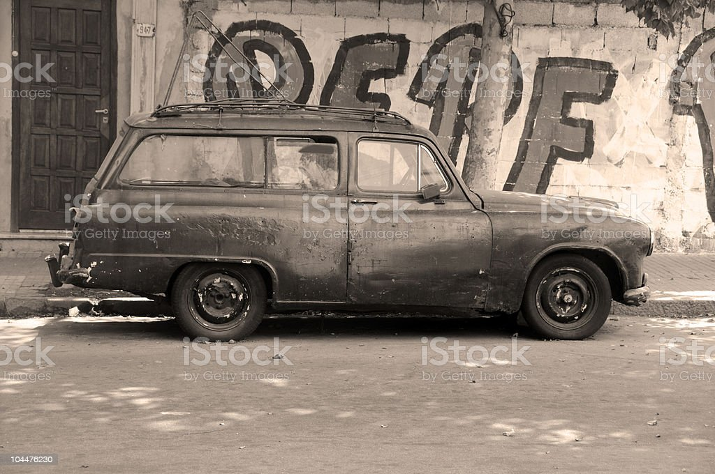 The Vintage Car and Uruguay royalty-free stock photo