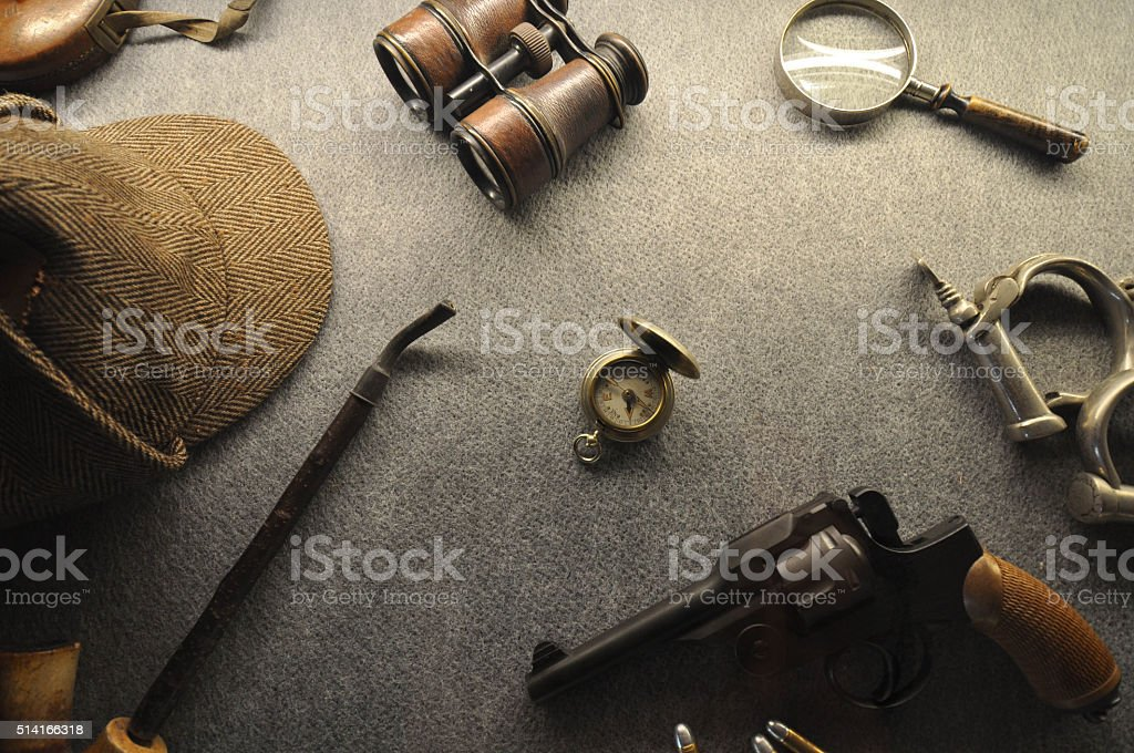 The vintage detective collection stock photo