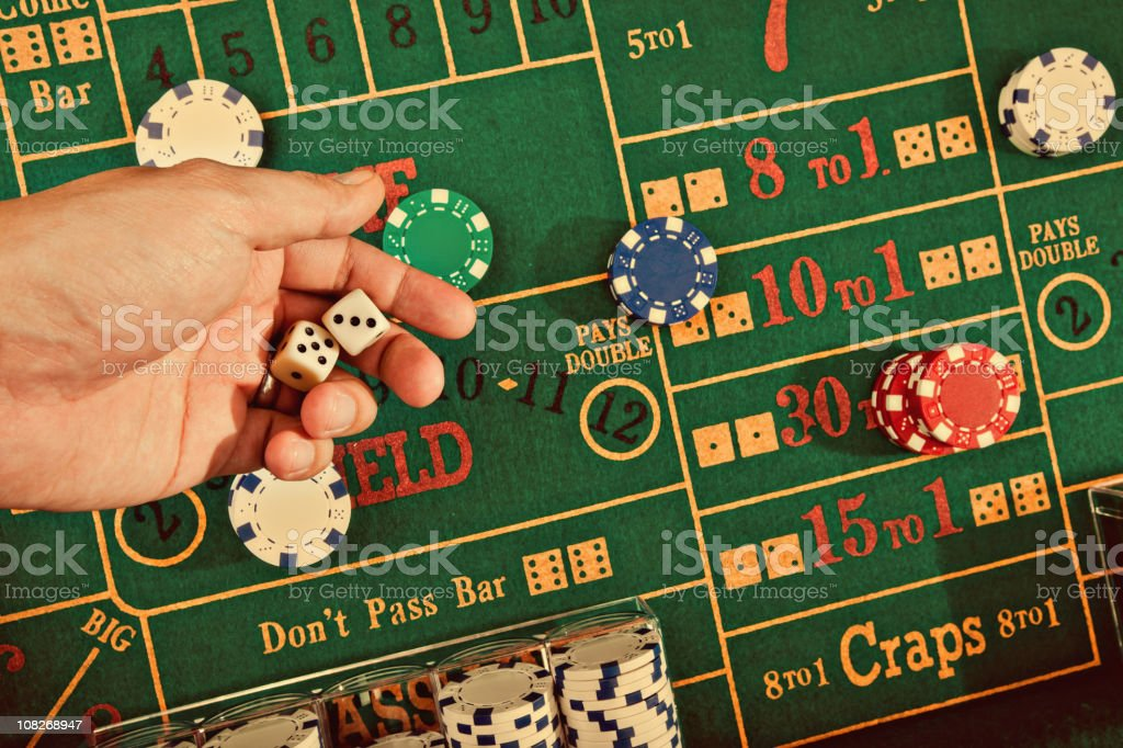 the vintage gambling craps table stock photo