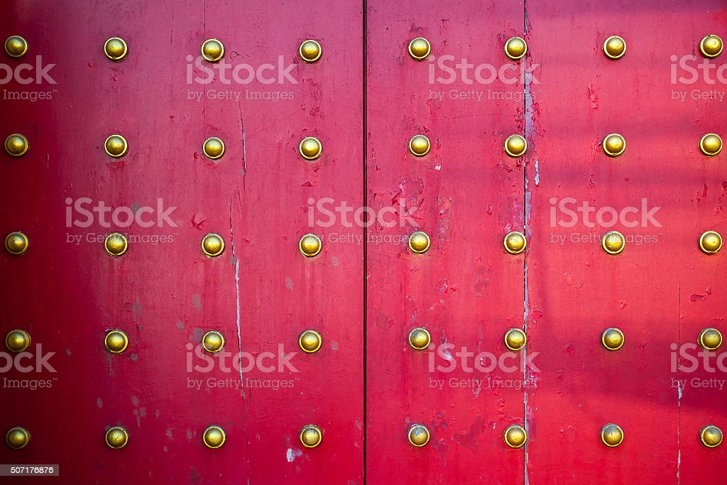 The vintage religion art on  temple doors stock photo