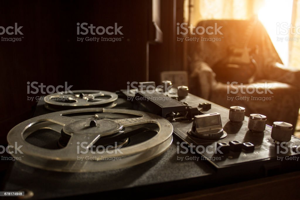 The vintage tape recorder stock photo