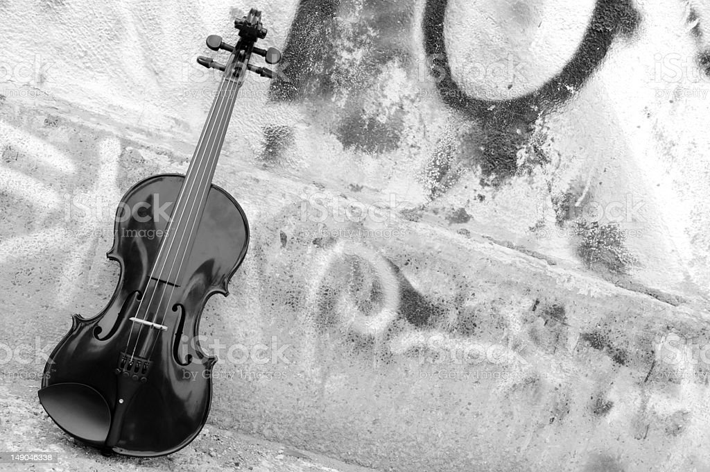the violin in black and white royalty-free stock photo