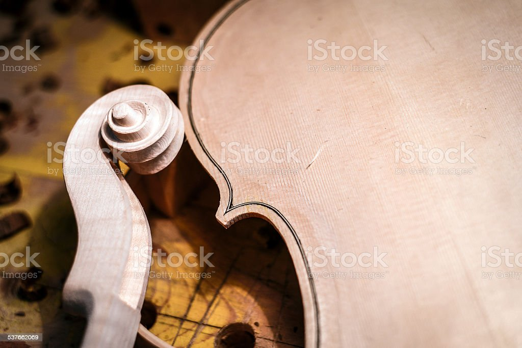 The violin maker laboratory stock photo