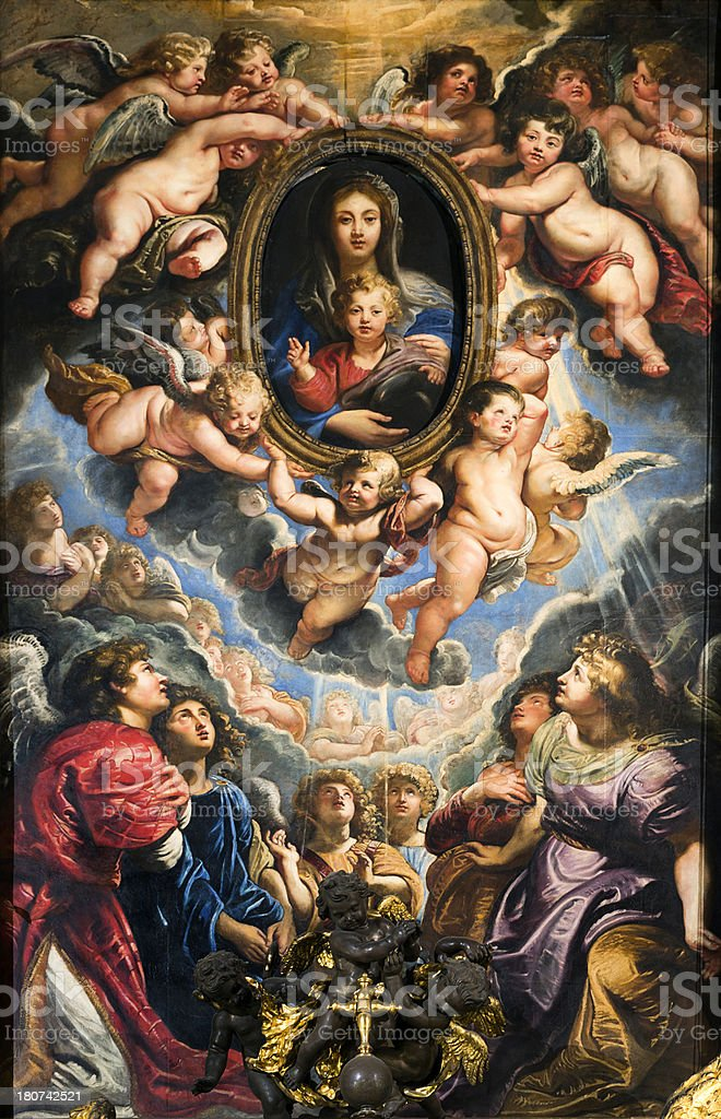 The Virgin and Child Adored by Angels, Peter Paul Rubens stock photo