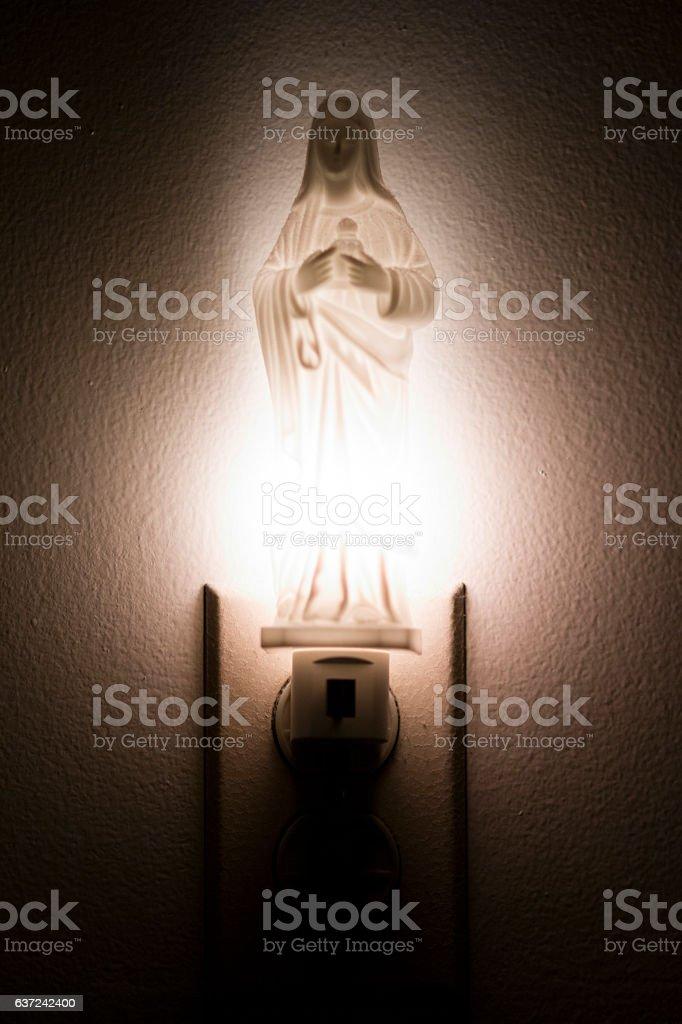 The Virgin Mary nightlight stock photo