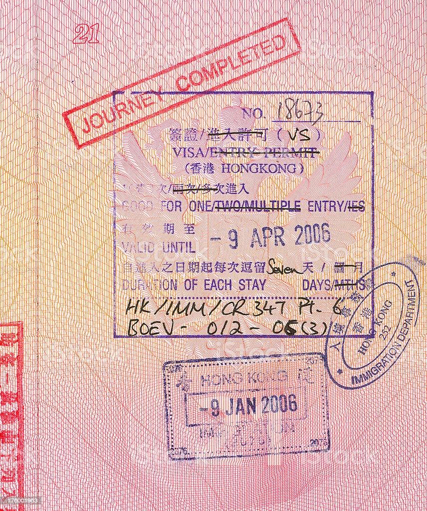 The visa to Hong Kong stock photo