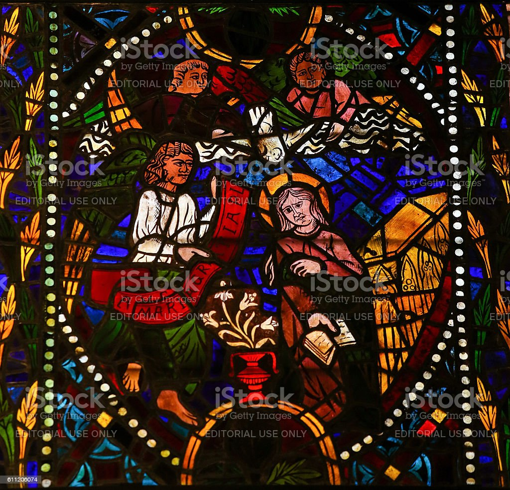 The Visitation - Stained Glass in Leon Cathedral stock photo