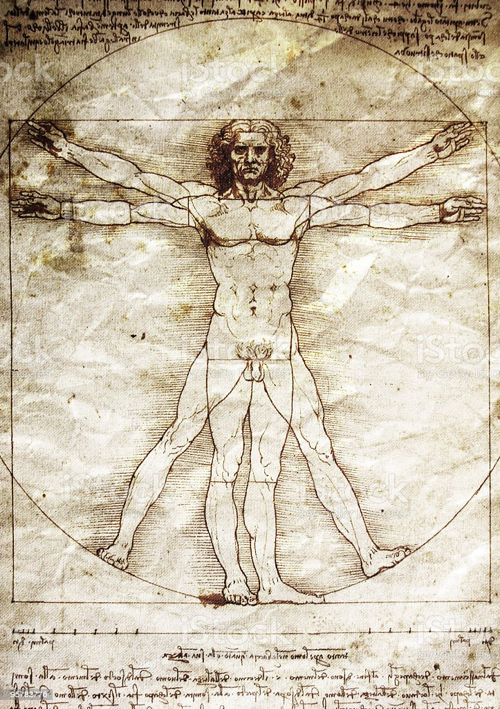 The Vitruvian Man by Leonardo da Vinci stock photo