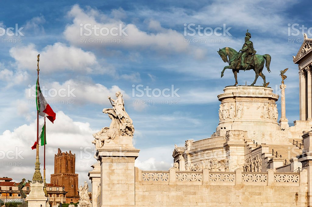 The Vittorio Emanuele II with blue cloudsky stock photo