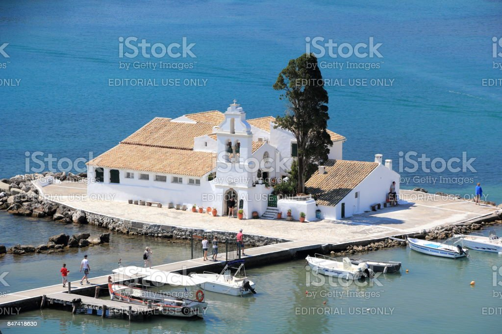The Vlacherna monastery on Kanoni peninsula. Corfu island. Ionian Sea, Greece. stock photo